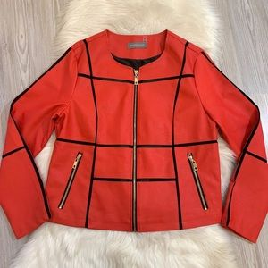 Bagatelle Faux Leather Red Black Jacket Size XL